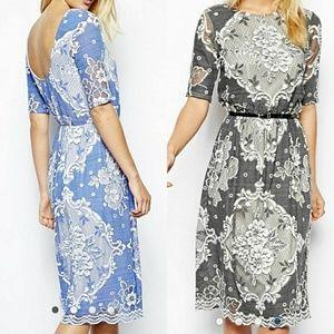 Asos Blue Lace Midi Dress Size 2